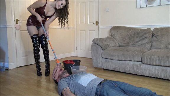 Slave Gets Dirty Smelly Mop In His Face.mp4 snapshot 06.18.378